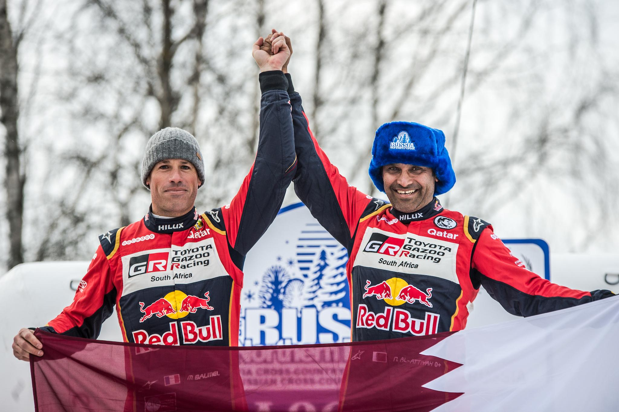 Celebrations in Russia for Nasser Saleh Al-Attiyah and Matthieu Baumel.
