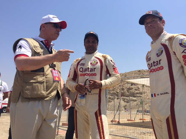 HRH Prince Feisal Al-Hussein, Chairman of Jordan Motorsport, with Nasser Saleh Al-Attiyah and Matthieu Baumel.